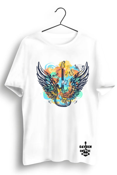 Electric Guitar with Angel Wings White Tshirt