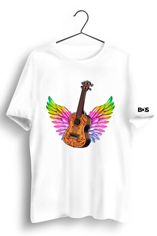 Guitar Wings Graphic Printed White Tshirt