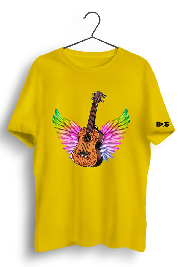 Guitar Wings Graphic Printed Yellow Tshirt
