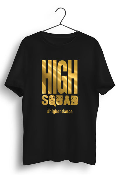 High Squad Graphic Printed Black Tshirt