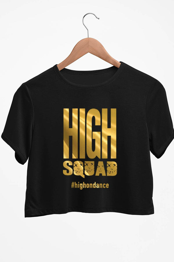 High Squad Graphic Printed Black Crop Top
