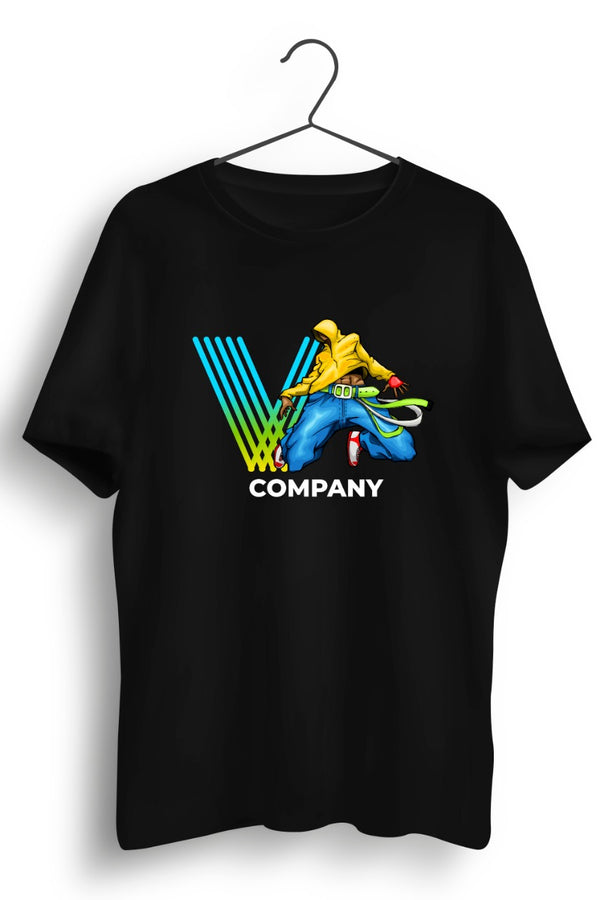 V Company Hip Hop Jump Graphic Printed Black Tshirt