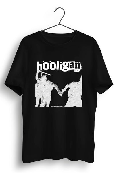 Hooligan Graphic Printed Black Tee