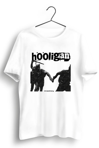 Hooligan Graphic Printed White Tee