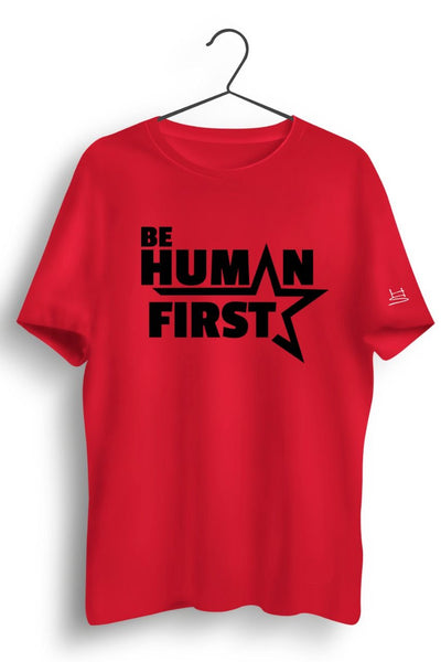 Human First Graphic Printed Red Tshirt