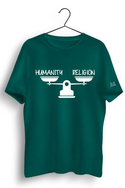 Humanity Religion Graphic Printed Green Tshirt