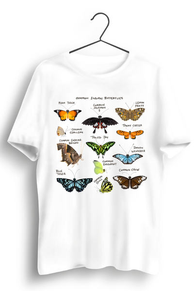 Indian Butterflies White Tshirt