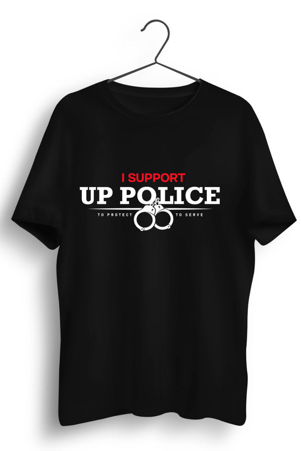 I Support U.P Police Black Tshirt