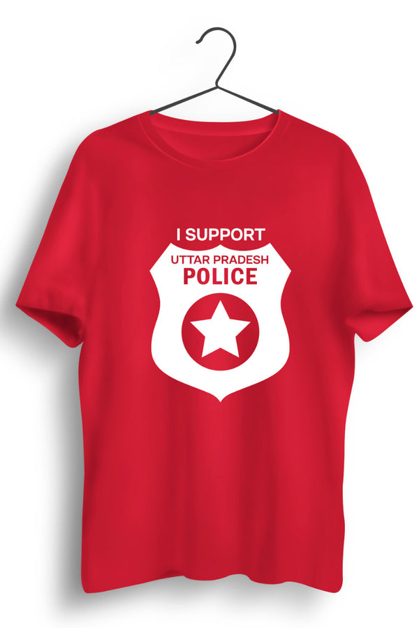 I Support U.P Police Red Tshirt