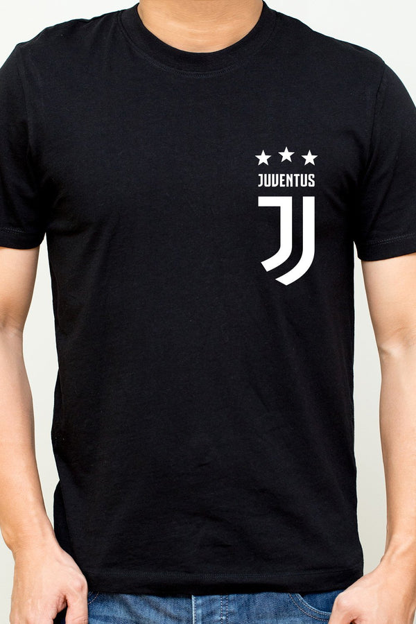 Juventus Football Club Minimal Logo Printed Black Fan T-Shirt