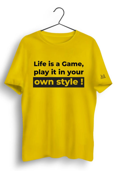 Life Is A Game Graphic Printed Yellow Tshirt