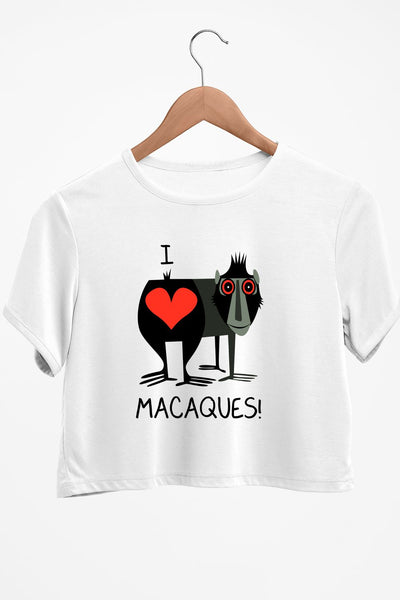 I Love Macaques White Crop Top