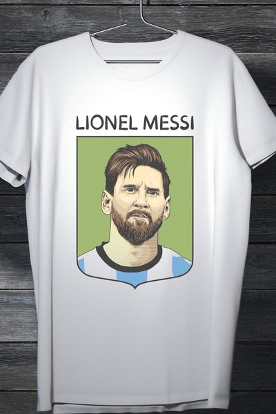 Lionel Messi - Art Fan T-Shirt White Cotton