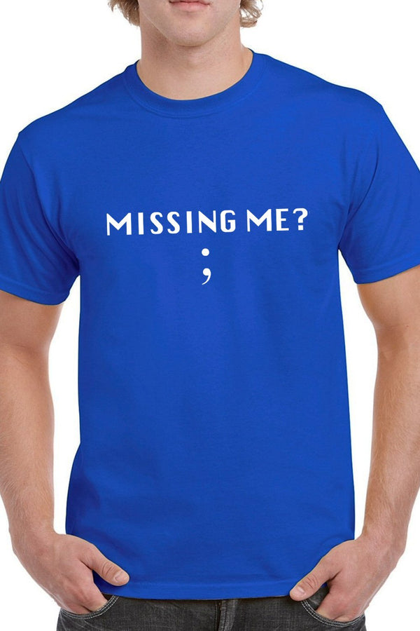 Missing Me - Semicolon - Coders And Developers Quirky Tee Blue Color
