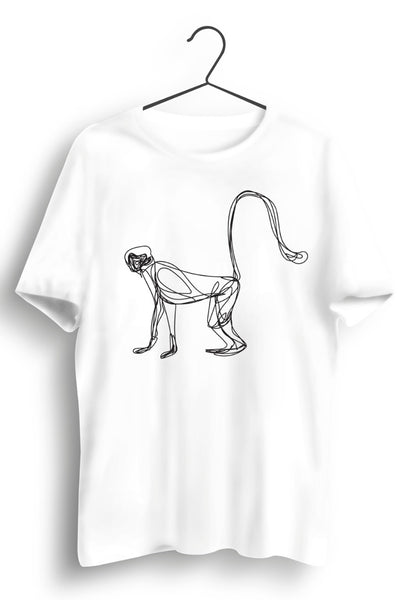 Monkey Graphic Printed White Tshirt