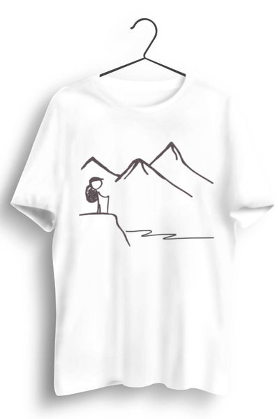 Mountain Graphic Printed White Tshirt