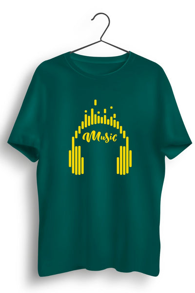 Music Graphic Printed Green Tshirt
