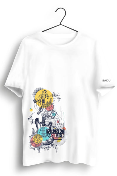 Music Life Graphic Printed White Tshirt