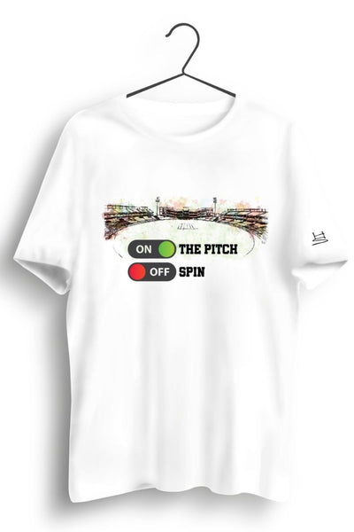On The Pitch Graphic Printed White Tshirt