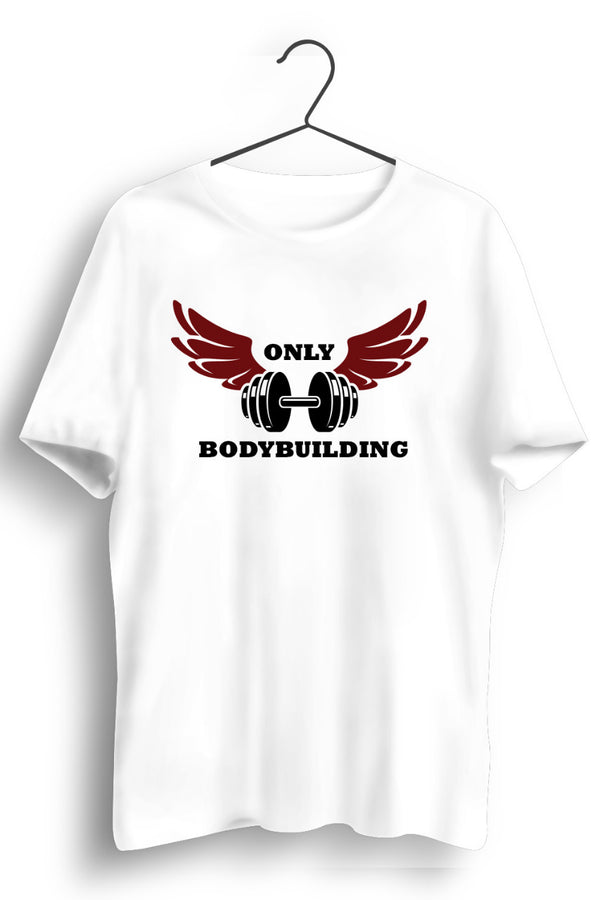 Only Body Building Horizontal Dumbbell Print White Tshirt