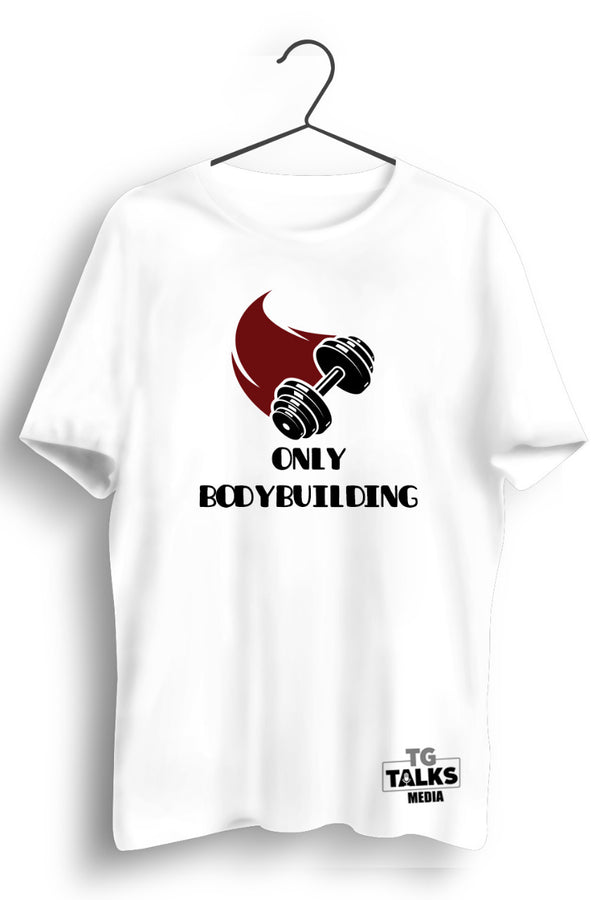 Only Body Building Inclined Dumbbell Print White Tshirt