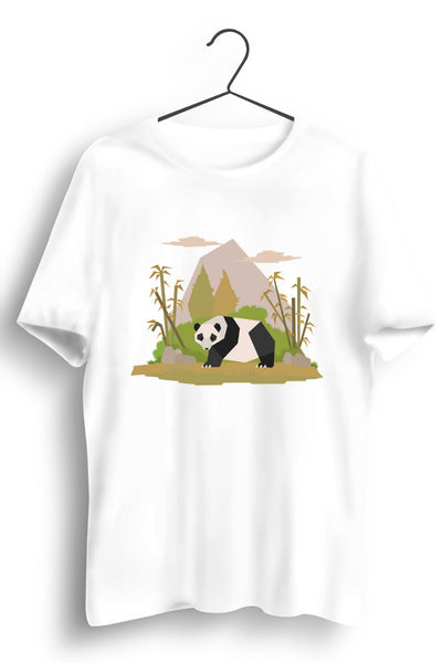 Panda Graphic Print White Tshirt