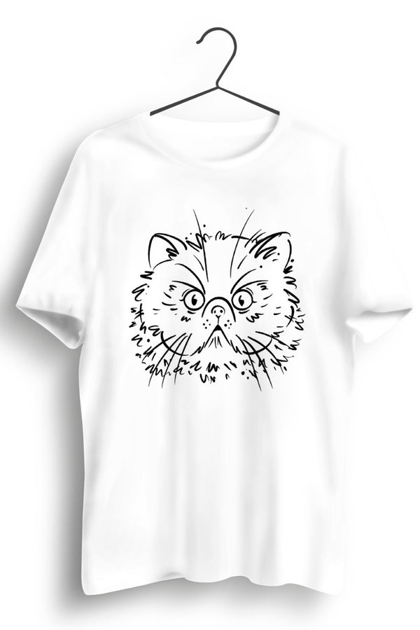 Persian Cat Graphic Printed White Tshirt