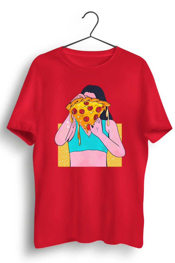 Pizza Girl Graphic Printed Red Tshirt