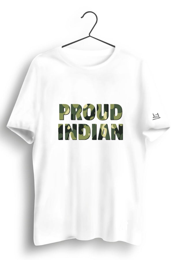 Proud Indian Camo Printed White Tshirt