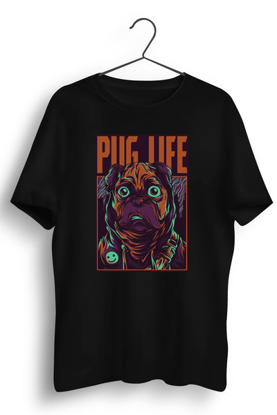 Pug Life Graphic Printed Black Tshirt