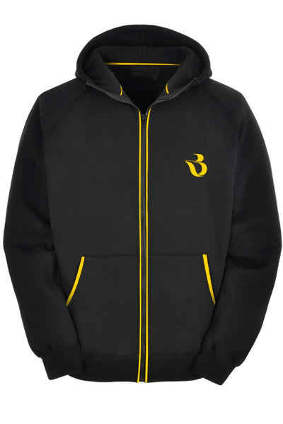 Black Hoodie With Yellow Contrast