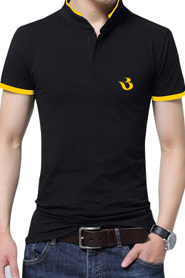 Mandarin Neck Black Tshirt With Yellow Contrast