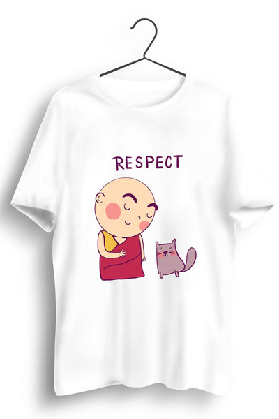 Respectful Monk Graphic Printed White Tshirt