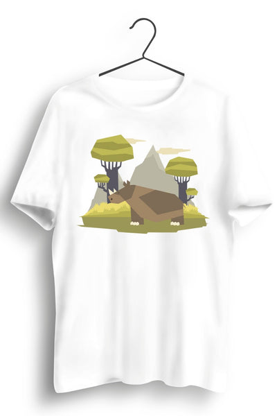 Rhino Graphic Printed White Tshirt