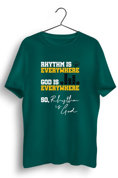 Rhythm Is Everywhere Graphic Printed Green Tshirt
