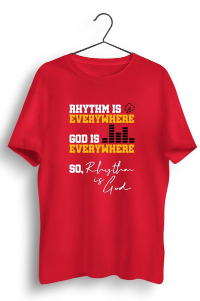 Rhythm Is Everywhere Graphic Printed Red Tshirt
