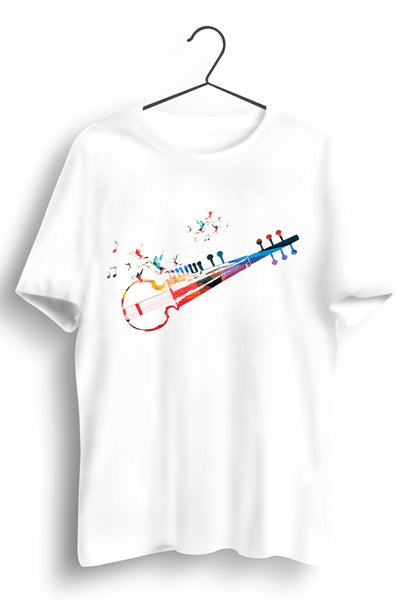 Sarod Graphic Printed White Tshirt