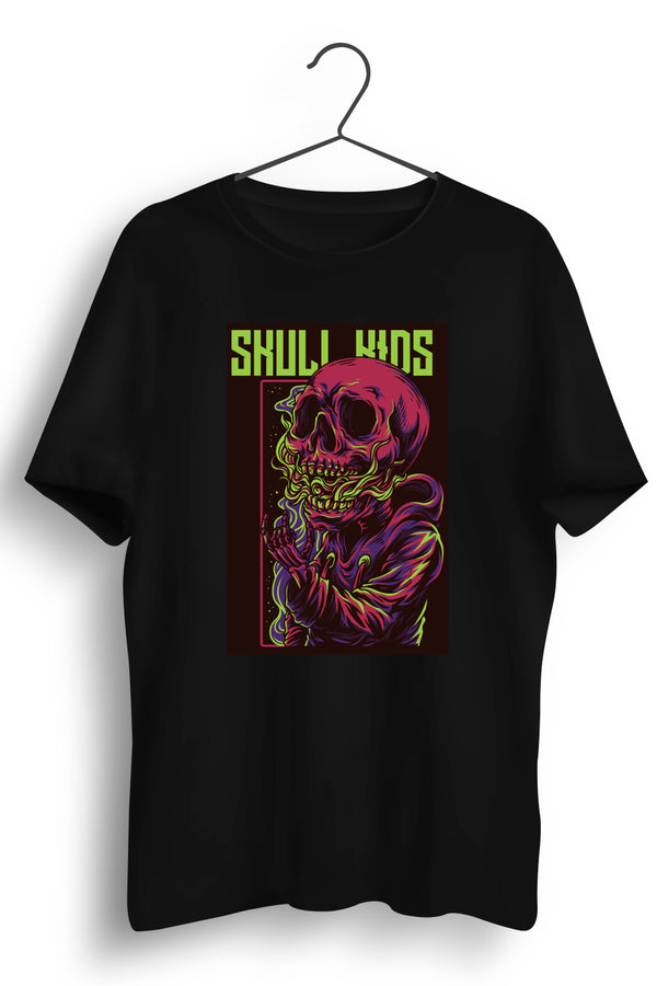 Skull Kids Graphic Printed Black Tshirt