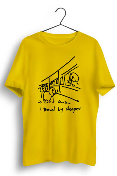 I Travel By Sleeper Yellow Tshirt