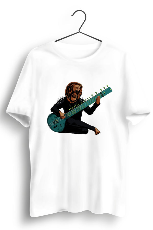 Sitar Lion Artwork + Story Graphic White Tshirt