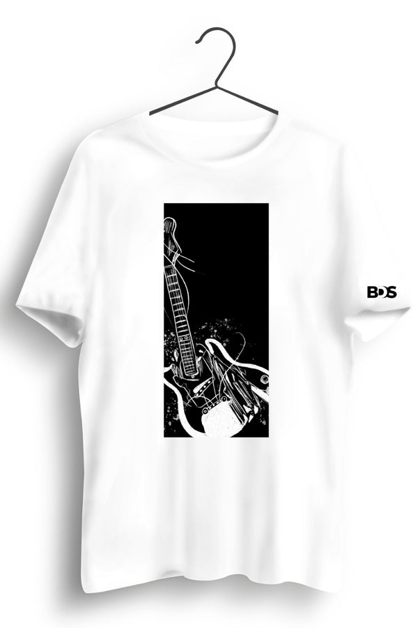 Smash Guitar Graphic Printed White Tshirt