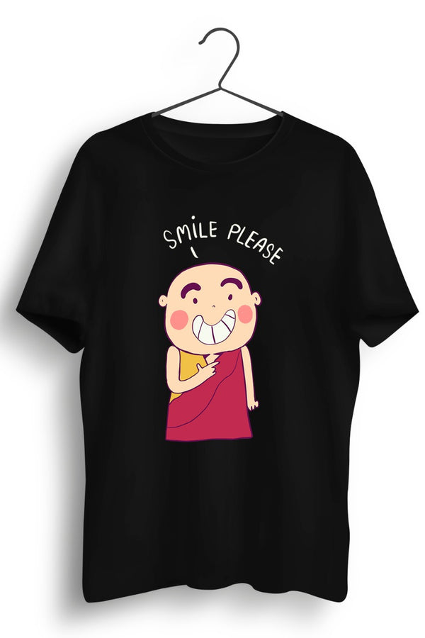 Smiling Monk Graphic Printed Black Tshirt
