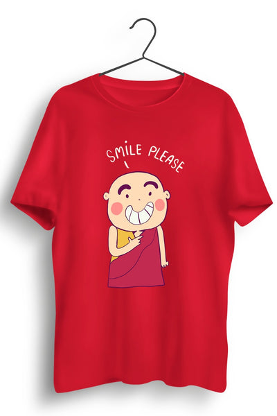 Smiling Monk Graphic Printed Red Tshirt