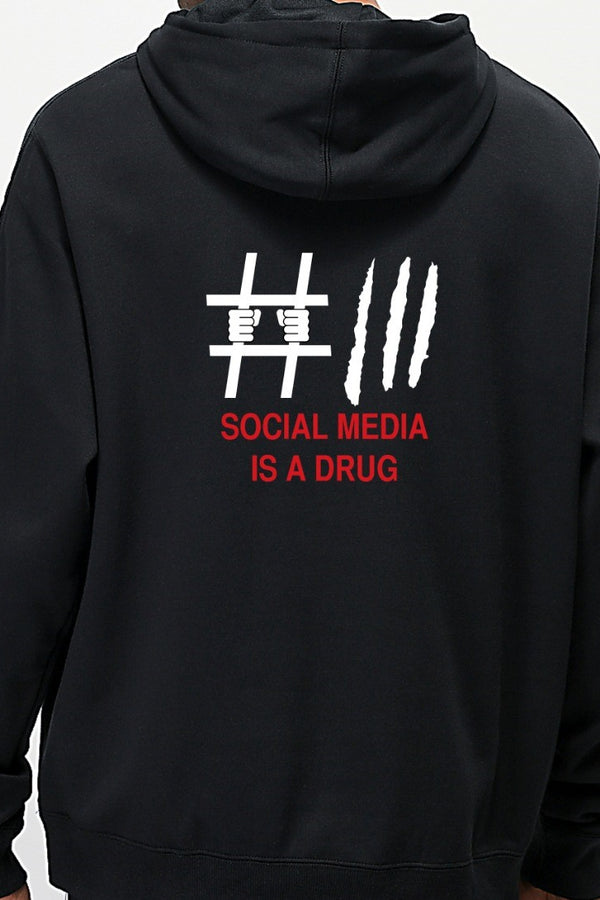 Social Media Drug Graphic Printed Black Hoodie