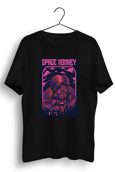 Space Monkey Graphic Printed Black Tshirt