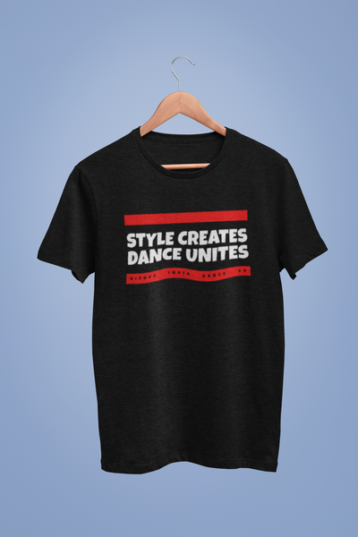 Hip Hop India Style Creates Dance Unites Black Tshirt