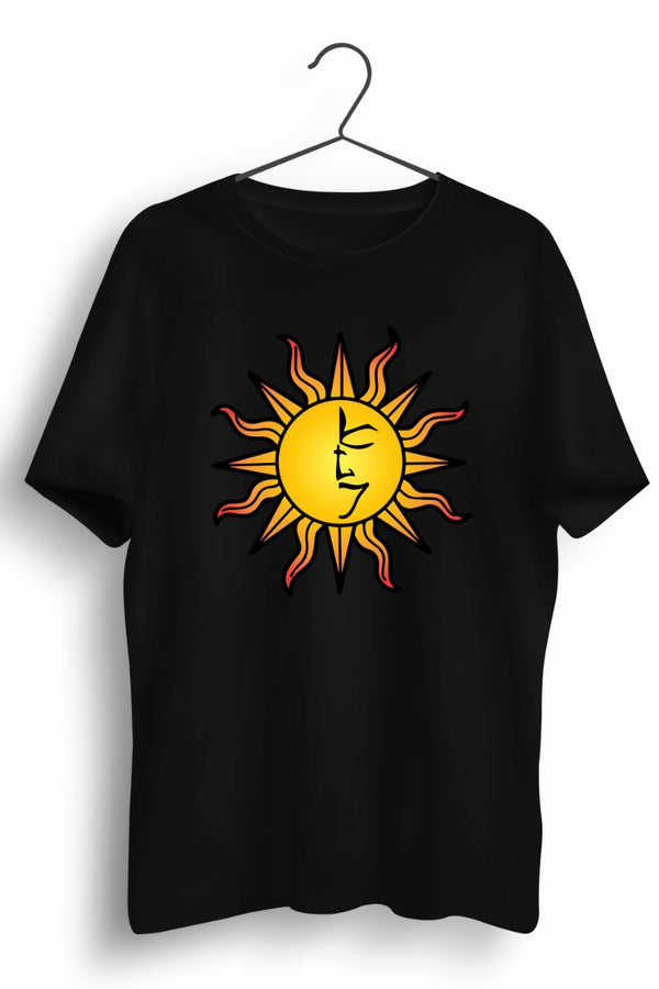 The Tattva Trip Sun Print Black Tshirt