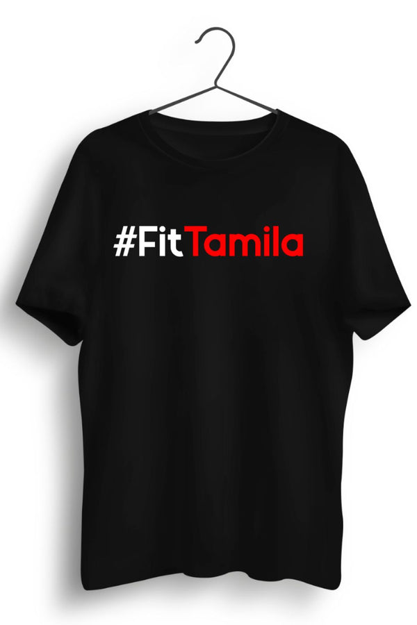 Fit Tamila English Text Black Tshirt