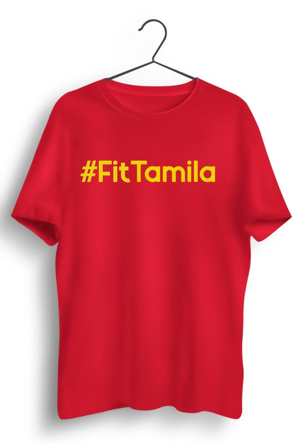 Fit Tamila English Text Red Tshirt