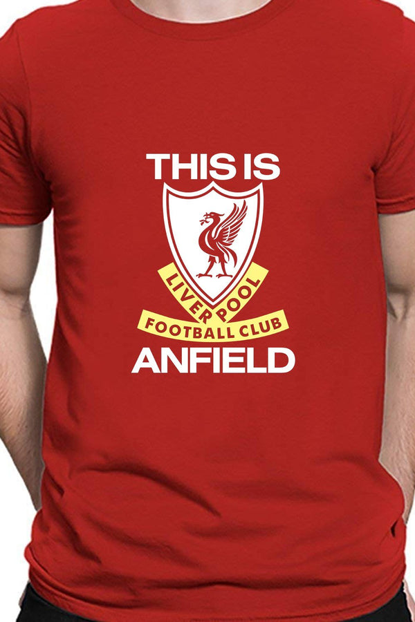 This Is Anfield - Liverpool Fan Tee Block Printed Red Round Neck